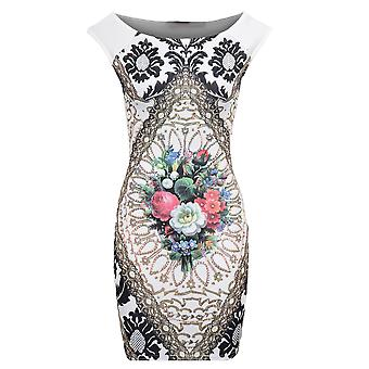 Ladies Sleeveless Boat Neck Floral Print Bodycon Women's Short Dress