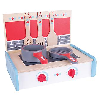 Bigjigs Toys Wooden Portable Cooker, Pans and Utensils Pretend Role Play Kitchen