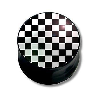 Ohr-Plug Piercing, Körperschmuck, schwarze und weiße Quadrate   6 - 16 mm