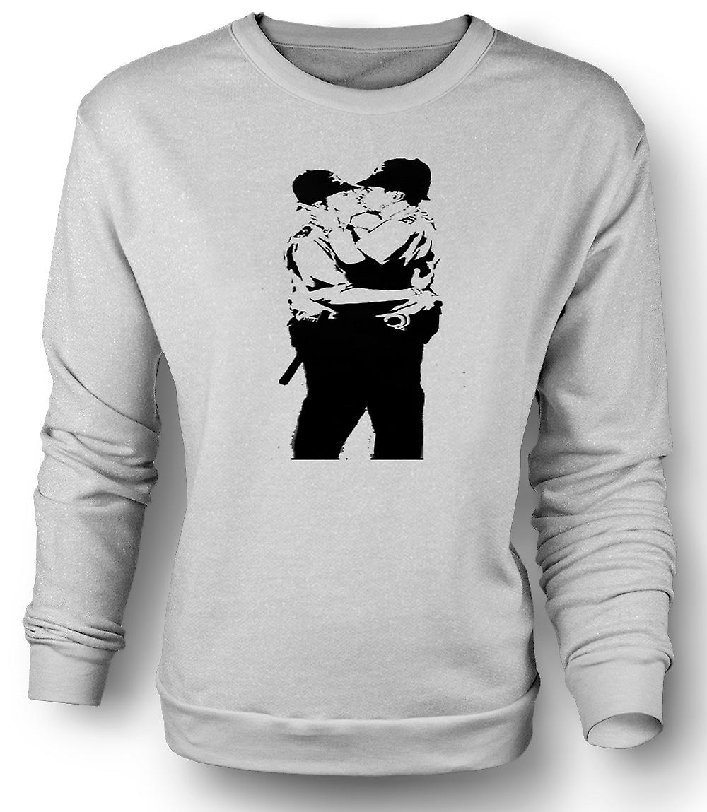 Mens Sweatshirt Graffiti Banksy Art - Police Gay