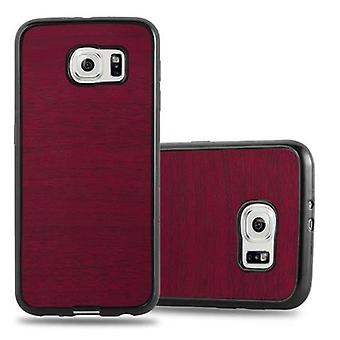 Cadorabo sleeve for Samsung Galaxy S6 - mobile cover from TPU silicone in vintage wood optics - silicone case cover ultra slim soft back cover case bumper