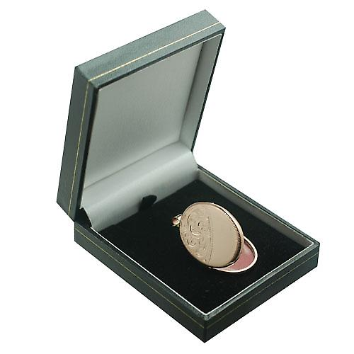9ct Rose Gold 35x26mm half engraved flat oval Locket