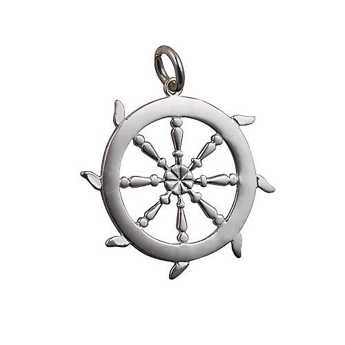 Silver 17mm solid Ships Wheel Pendant or Charm