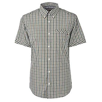 Pretty Green Slim Fit Checked Short Sleeve Green Shirt