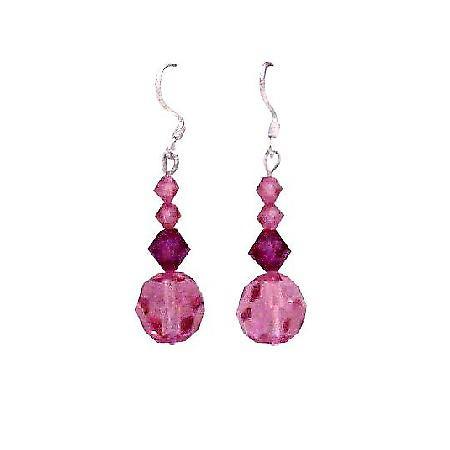 Swarovski Rose & Fuchsia Crystals Sterling Silver Hook Earrings
