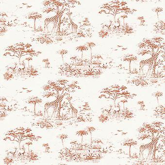 Safari bakgrunnsbilde Jungle eksotiske tropiske Giraffe trær blomster fugler fra Rasch