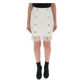 Balmain White Cotton Skirt