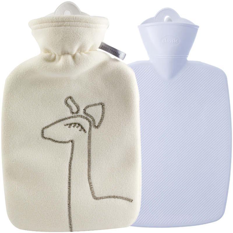 Hugo Frosch Hot Water Bottle In Luxury Fleece Cover Cream 1.8L