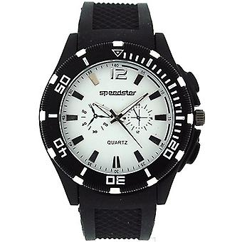 Speedster Gents Chrono Effect Analogue Black Rubber Strap Watch S244
