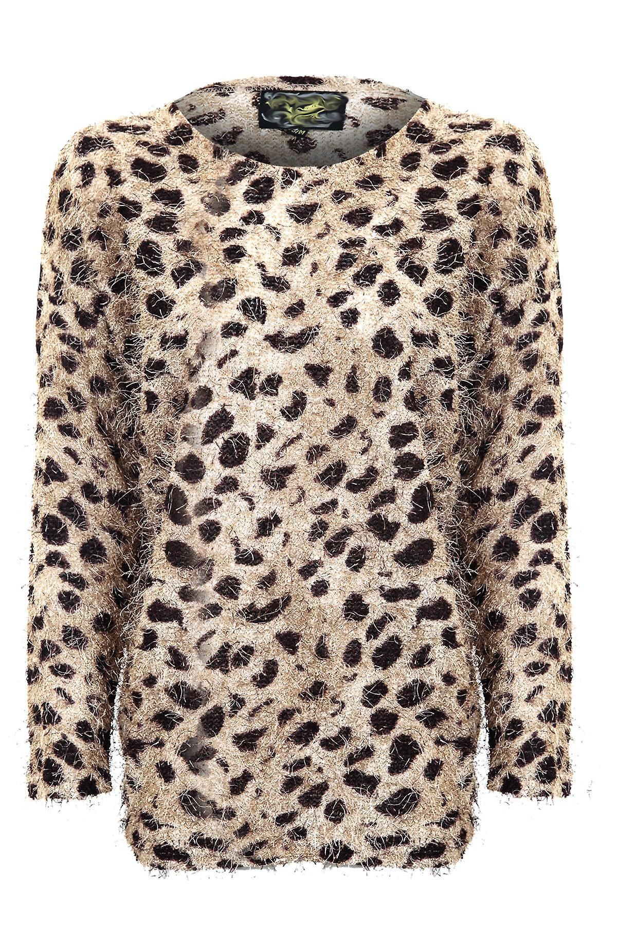 Ladies Long Sleeve Leopard Print Sweater Womens Jumper