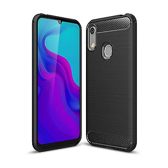 Huawei Y6 2019 TPU caso de fibra de carbono óptica cepillado protección caso negro