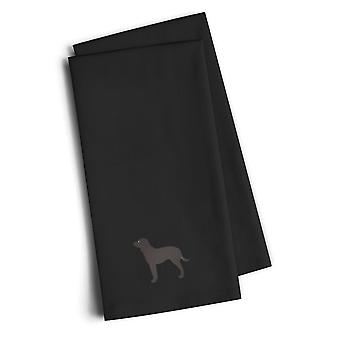 American Water Spaniel Black Embroidered Kitchen Towel Set of 2