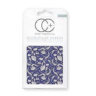 Craft Consortium Floral Porcelain 2 Decoupage Papers (CCDECP164)