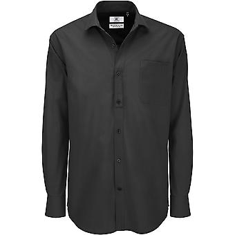 B&C Collection - B&C Heritage Long Sleeve Mens Cotton Shirt - Workwear Business Corporate