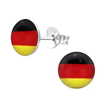 Germany Flag - 925 Sterling Silver Colourful Ear Studs - W24435X