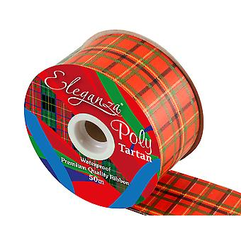 50m Red Tartan 50mm Wide Floristry Poly Craft Ribbon | Ribbons & Bows for Crafts