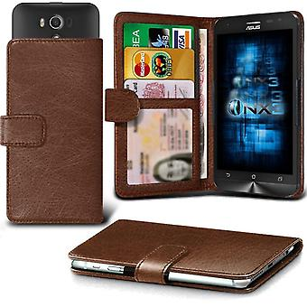 ONX3 Asus Zenfone 5 A501CG Leather Universal Spring Clamp Wallet Case With Card Slot Holder and Banknotes Pocket-Brown