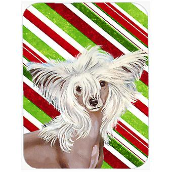 Chinese Crested Candy Cane Holiday Christmas Glass Cutting Board Large