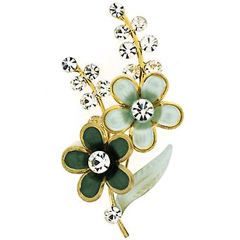 Brooches Store Green Enamel and Crystal Floral Corsage Brooch (Gold Tone)