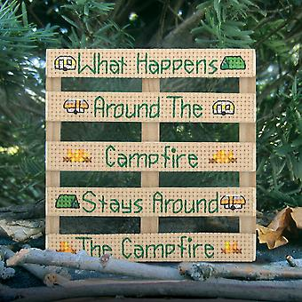 Wood Pallet Campfire Counted Cross Stitch Kit-4