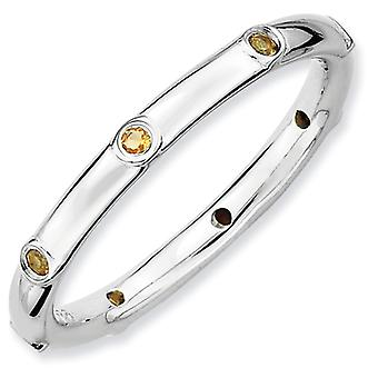 Sterling Silver Stackable Expressions Citrine Ring - Ring Size: 5 to 10