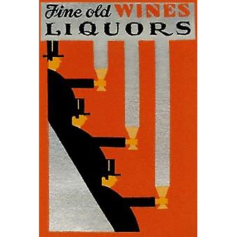 Fine Old Wines Liquors Poster Print by Vintage Booze Labels