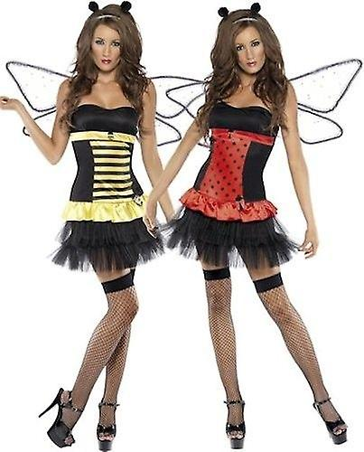 Smiffys Fever Reversible Bumble Bee Lady Bug Ladybird Womens Fancy Dress