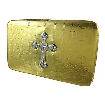 Metallic Gold Mock Croc Rhinestone Cross Wallet