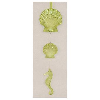 Lime Green Scallop Shells Seahorse 10 Inch Christmas Holiday Tree Ornament Resin