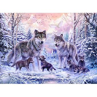 Winter Wolf Family Poster Print by Jan Patrick