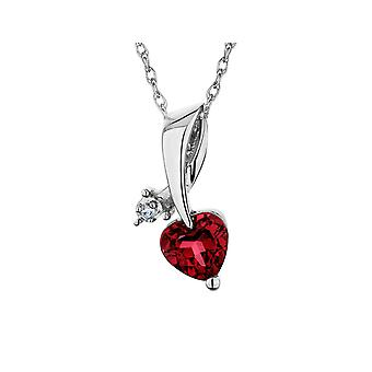 Created Ruby Heart Pendant Necklace with Diamonds in 10K White Gold with Chain