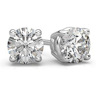 Platinum 1 Carat Diamond Stud Earrings