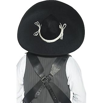 Authentic Mexican bandits Sombrero black