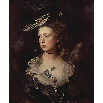 Thomas Gainsborough - Portrait of Woman Poster Print Giclee
