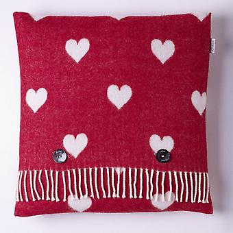 Bronte By Moon Merino Lambswool Hearts Cushion - Red/White