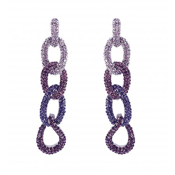 W.A.T Silver Style Sparkling Mauve And Purple Crystal Chain Fashion Earrings