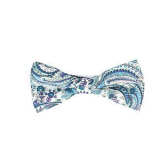 Snobbop-bound fly white light blue scroll pattern loop cotton bow tie