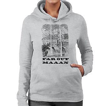 Far Out Man Vintage Fishing Drawing Women's Hooded Sweatshirt