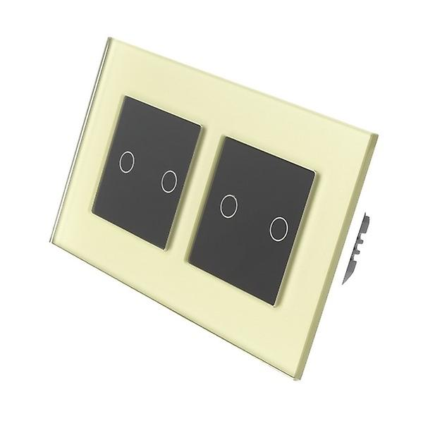 I LumoS or Glass Double Frame 4 Gang 1 Way Touch LED lumière Switch noir Insert