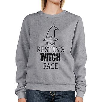 Ruhenden Hexe Gesicht grau lustige Hexe Halloween Sweatshirt für Damen