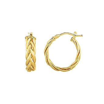 14K Gold Yellow Finish Hoop Fancy Earrings, Diameter 15mm