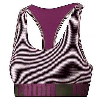 PUMA Women Cotton Modal Stretch Mini Stripe Bralette, Dark Purple / Grey Melange, Large