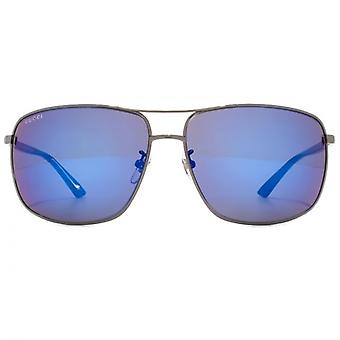 Sonnenbrillen Gucci Classic Metal Square In Ruthenium Havanna blau