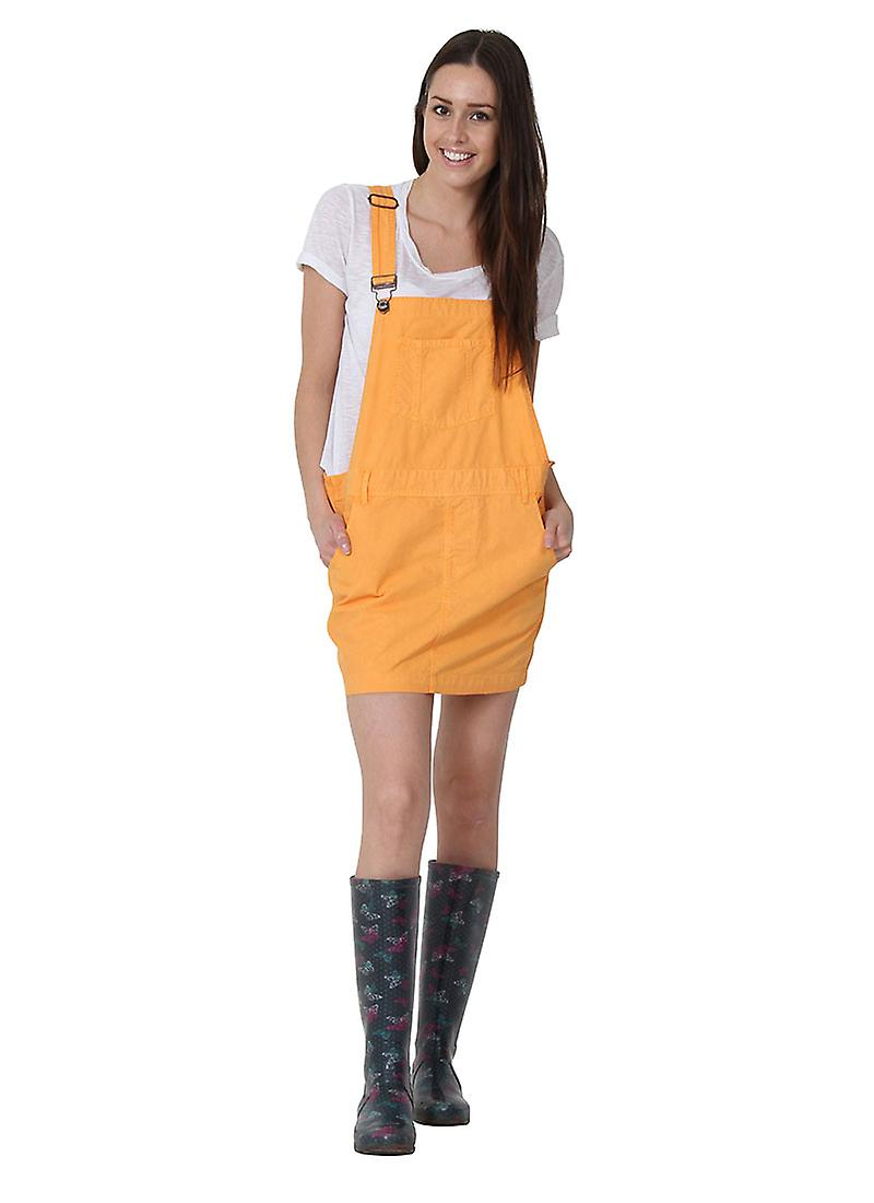 USKEES CLAIRE Short Oversized Denim Dungaree Overall Dress - Orange Relaxed Loos