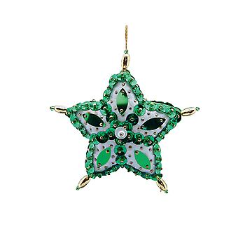 Pinflair Sequin & Pin Green Star Bauble Ornaments - Makes 2