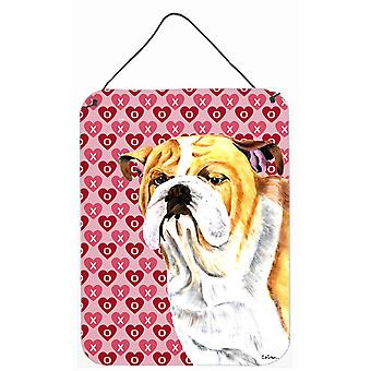 Bulldog English Hearts Love and Valentine's Day Wall or Door Hanging Prints