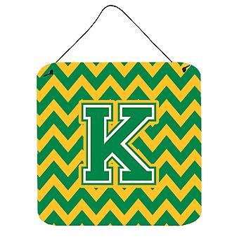 Буква K Шеврон зеленый и Золотой стены или двери висит принты