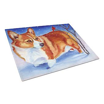 Carolines Treasures  7411LCB Corgi Cardinal Buddy Glass Cutting Board Large
