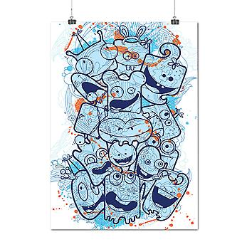 Matte or Glossy Poster with Cute Monster Head Funny | Wellcoda | *d1271