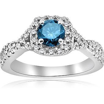 1ct blu diamante anello di fidanzamento 14k oro bianco